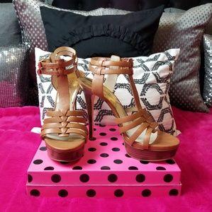 Michael Kors Platform Double Buckle T Strap Heels